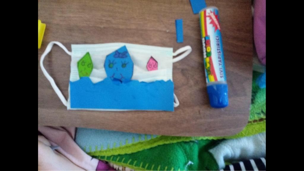 """4. sınıflarımız resim dersinde """"Su"""" temalı maske tasarlamışlardır."""